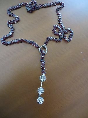 Vintage Hand Faceted Natural Cherry Garnet Oval Stones necklace a lot Carat!!