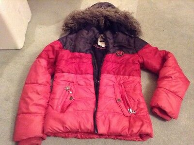 Girls Winter Warm Coat Fluffy Hood Approx Size 11-12 Years Washed Pink Red Used