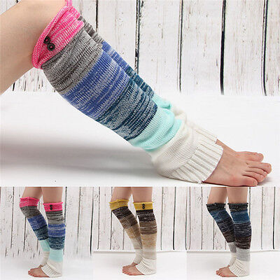 Women Leg Warmers Crochet Knit Toppers Cuffs Knee High Long Legging Boot Socks p