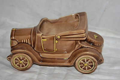 Vintage USA McCoy Car Auto Oldsmobile Planter 1954 Tan Yellow Accents