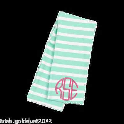 Girl's Infinity Mint Stripe Scarf W/ Monogram -Your Embroidery Monogram Is Free!