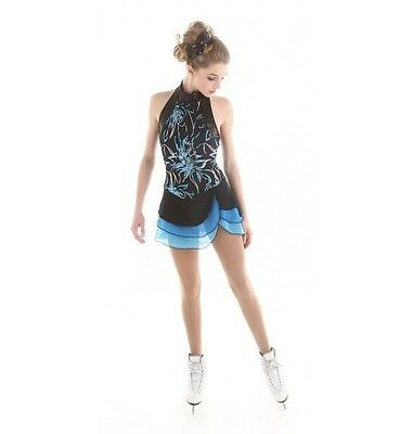 NEW COmpetition SKATING DRESS Elite Xpression Black Turquoise 1525 10-12 cl
