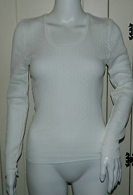 Ladies Vintage White Swan Long Sleeve Thermal Vest - One Size - BNWOT
