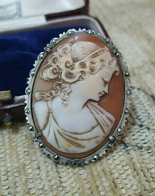Vintage Solid Silver Cameo Brooch/pendant, Marcasite Frame, Dated Approx 1960's