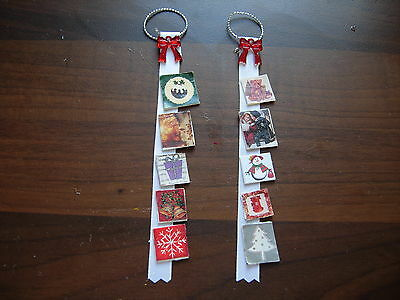 1/12Th Scale Dolls House Set Of 2 Xmas Card Holder With Card Handmade Christmas