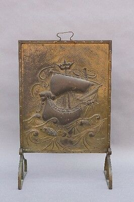 1920s Spanish Revival Galleon Fire Screen Antique Fireplace Vintage (9739)