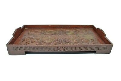 Antique Frisian Chip Carved & Painted Wood Serving Tray, Dutch.