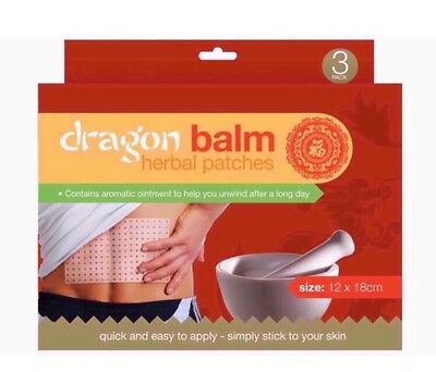 3 Dragon Balm Chinese Herbal Natural Remedy Heat Patches Pain Relief Plasters
