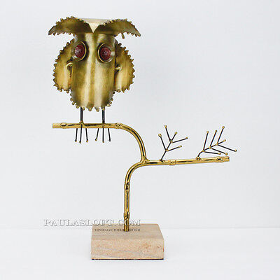 Mid Century Owl Sculpture Art Object Brass Card Stand Retail Entry Vintage