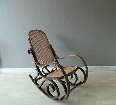 Vintage American steamer style rocking chair bentwood wicker rattan seat arm
