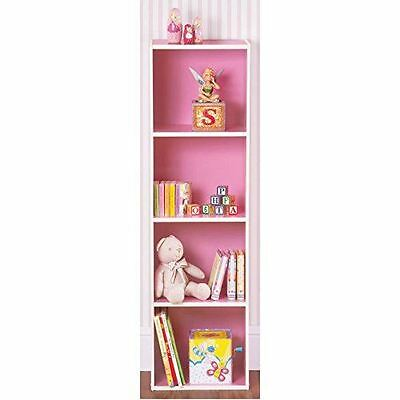 3 Tier Pink Wooden Coloured Bookcase Storage Shelving Display Unit Furniture