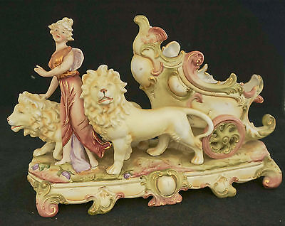 Art Nouveau 1890 Antique Royal Dux Blush Bisque Porcelain Figural Mantel Statue