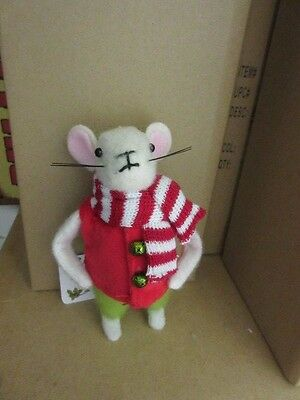 New Holiday Decor Felt *  material Christmas mouse boy figure doll ornament #2