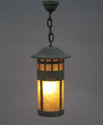 Early 20th Century Copper Lantern Antique Craftsman Hanging Pendant Light (9743)