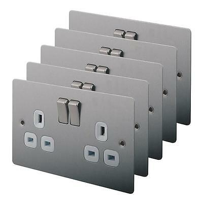 5X 2-Gang DP Switched Plug Socket Switch Brushed Stainless Steel Sockets PACK