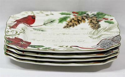 222 Fifth Holiday Wishes Porcelain Christmas Dinner Plates Set of Four New