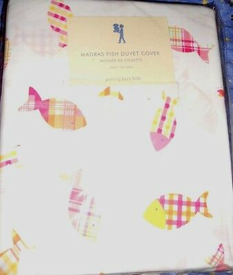 Pottery barn kids madras fish duvet cover twin discontinued new bedding bed