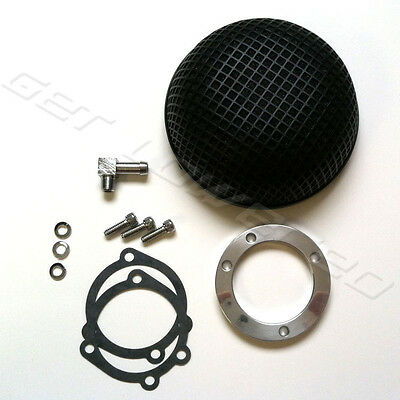 Black Round Mesh Air Cleaner for CV Carb Harley Sportster Dyna Softail Touring