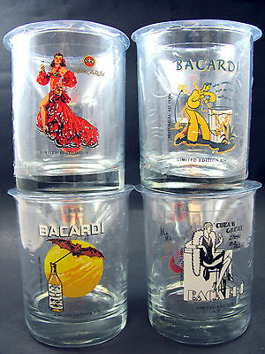 NEW Bacardi Rum Limited Edition Mojito Glasses Set 4 Vintage Bat Logo 150th