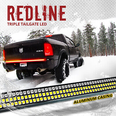 "60"" TRIPLE LED Tailgate Bar Sequential Turn Signal Amber Rigid Brake Light Rear"