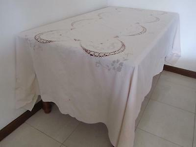 Vintage Embroidered Linen Crochet Banquet TABLECLOTH Large Size