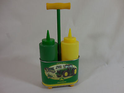John Deere Condiment Server Mustard Catsup Carrier Caddy Metal Tray