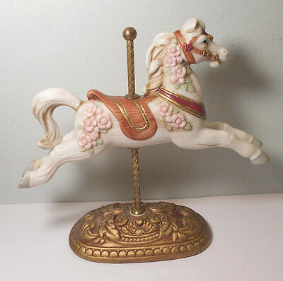 """Merry go round Vintage """"HOMCO"""" Hand/painted Porcelain Carousel Horse Figurine"""