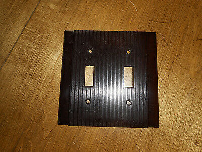 Vntg Uniline Double Switch Plate Cover Brown Bakelite Plastic Ribbed  NOS