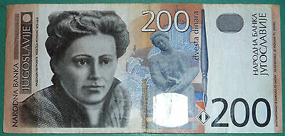 Yugoslavia 200 Dinar Note From  Year 2001, P 157,