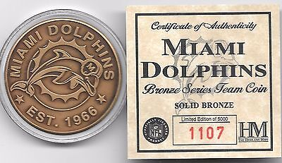 Miami Dolphins Bronze Coin From The Highland Mint