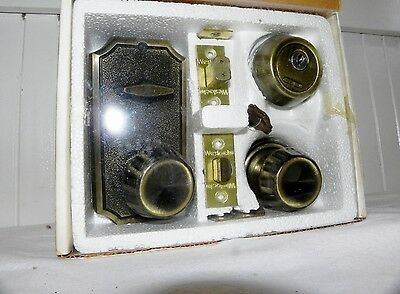Vtg Mid Century Weslock Dead Bolt Deadbolt Antique Brass Lock Set New & Keys