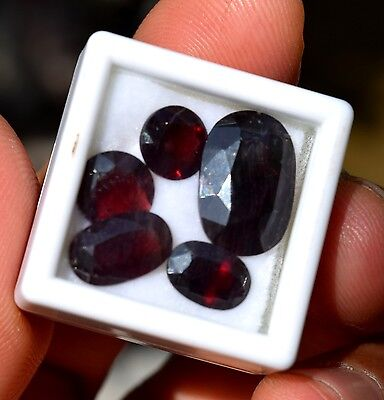 offering 5 pieces of faceted red color almandine garnet from northern pakistan.