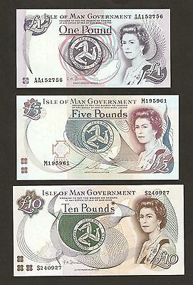 Isle Of Man £1 / £5 / £10 Pounds  Banknotes Set Uncirculated