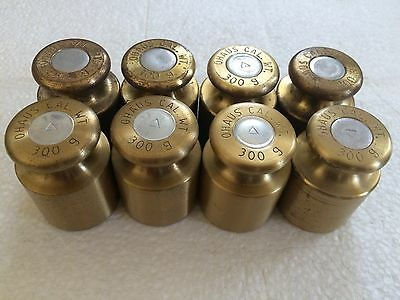 Lot Of 8 Vintage Ohaus Brass 300g Calibration Weights Weight Scale Science..