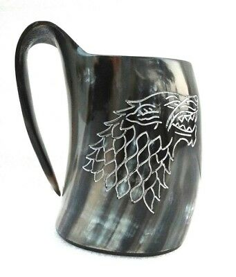 Game of Thrones Hand carved Viking Drinking Horn Beer Mug Tankard Christmas gift