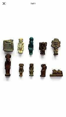9 Ancient Egyptian Amulets and  1 Fragment of Isis and Horus Priced Individually