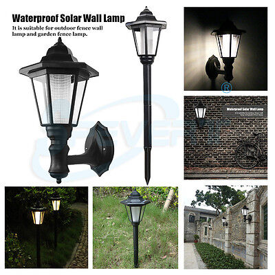 HOT Solar Powered Wall Mount LED Light Outdoor Garden Landscape Fence Yard Lamp