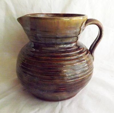 """Original 1920s Fulper Pottery Brown Colonial Ware 5 1/2"""" Pitcher Mint Condition"""