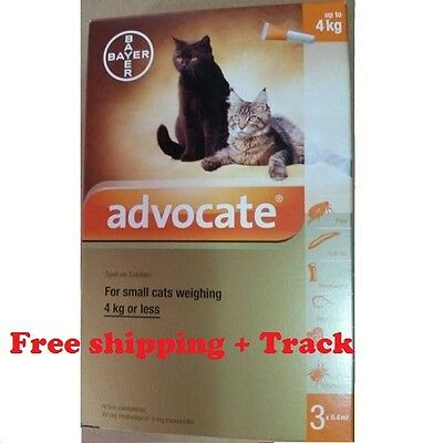 6  Pipettes ADVOCATE-Cats-Small-Kittens-0-4-KG-Parasite-Worms Pest Control