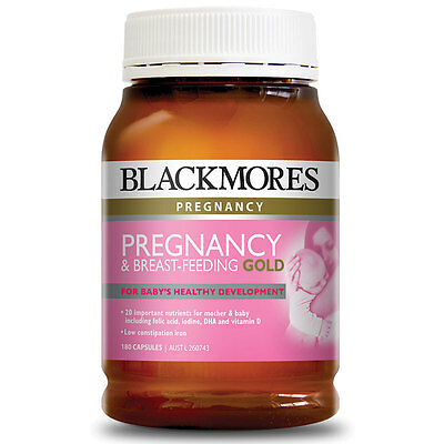 1 x Pack 180 BLACKMORES PREGNANCY BREAST FEEDING GOLD Capsules - 05/2017