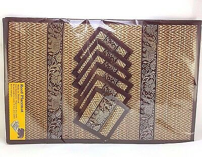 6XThai Elephant Reed Silk Brown Handmade Place Table Mats and Coasters Dining