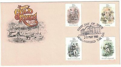 1981 Gold Rush Era Set FDC - Beaconsfield Tas Stamped