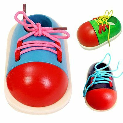 1pcs Kids Early Montessori Educational Toy Children Toddler Wooden Lacing Shoes