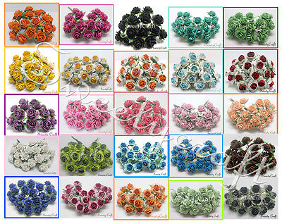 10 mix color Mulberry Paper Rose Flower handmade size 1 cm.(10mm)with wire stem