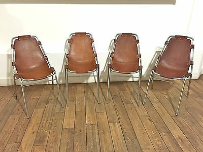Original set 4 x CHARLOTTE PERRIAND Les Arcs leather & chrome ski chairs 1960s