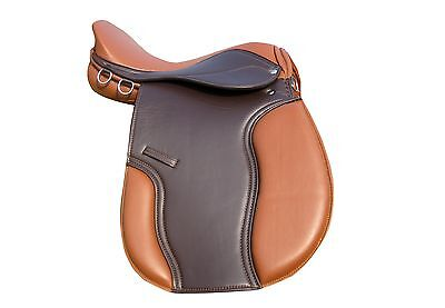 "Synthetic Halflinger Horse Saddle 17""  BROWN/TAN Top Quality General Purpose"