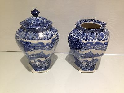 BEAUTIFUL RARE PAIR c1930's ROYAL CAULDON CHARIOT GINGER JARS FLOW BLUE & WHITE