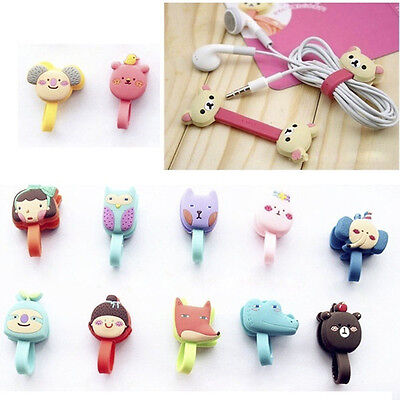 2xx Cute Cartoon Earphone Winder Cable Cord Organizer Holder Phone Cable Holder