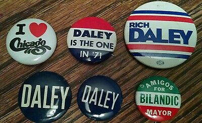 Vintage Mayor Daley Pins Chicago Illinois Political Campaign Pinback Button
