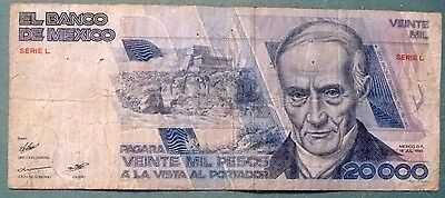 MEXICO 20000 20 000 PESO NOTE , P 91 a  issued 19.07. 1985